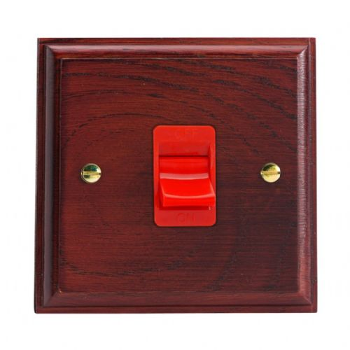 Varilight XK45SMB Kilnwood Mahogany 45A DP Cooker Switch Single Plate